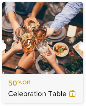 Up to 50% Off Food and Beverage Bill